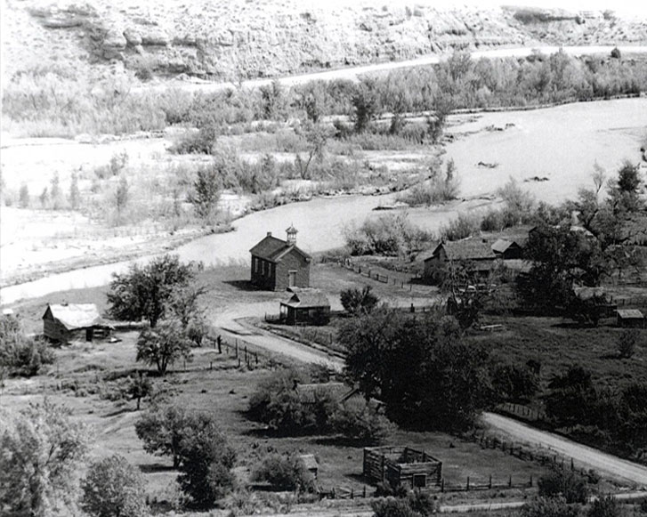 We don't know who took this picture or when. The highway was not improved and the house built during the Butch Cassidy film in 1969 was still there. Look at the Wood's log barn with no roof that has been restored by the Attiyeh Foundation. The river in front of Grafton is much deeper now.