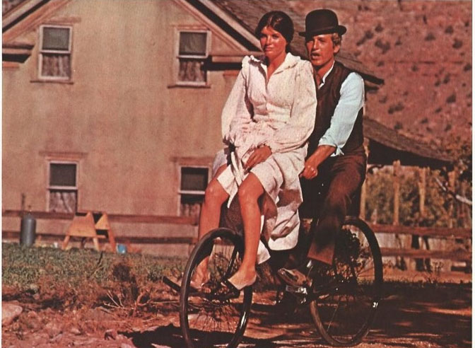 Paul Newman and Katharine Ross in the movie Butch Cassidy and the Sundance Kid in 1969. Picture was taken in front of the Russell Home in Grafton.